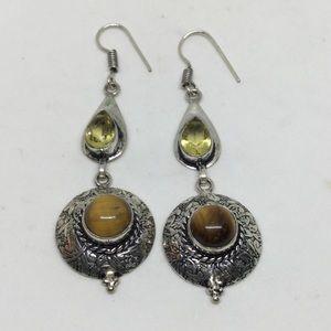 Handmade Jewelry - Citrine and Tigers Eye Silver Earrings